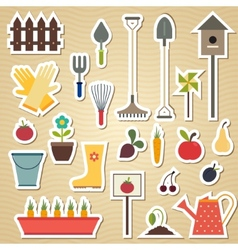 Garden and gardening tools icon set on a light vector