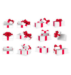 gift boxes white open present empty box with red vector image