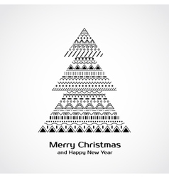 Greeting card with Christmas tree in tribal style vector
