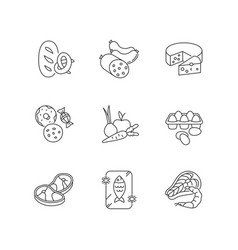 Grocery food pixel perfect linear icons set vector