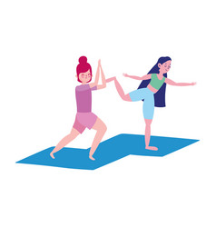 group happy girls practicing yoga on mats isolated vector image