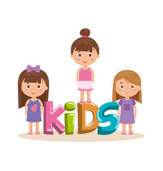 group of little girls with word characters vector image