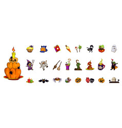 halloween icon set cartoon style vector image
