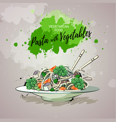 hand drawing artistic pasta with vegetables vector image