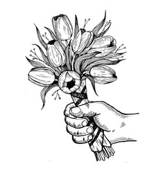 hand with flowers engraving vector image