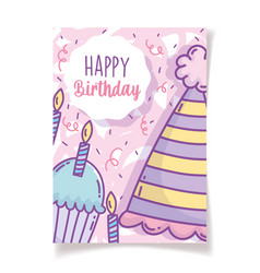 happy birthday cupcake with candle party hat vector image