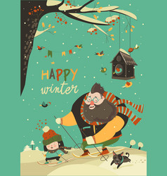 happy father and daughter skiing in snow vector image