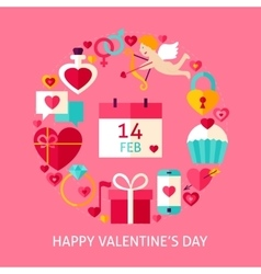 Happy Valentines Day Flat Concept vector