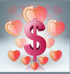 hearts and dollar valentines day dollar money vector image