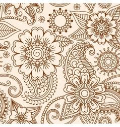 Henna mehndi seamless pattern vector