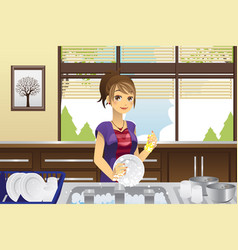 housewife washing dishes vector image