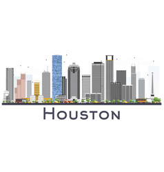 Houston skyline usa city with color buildings vector