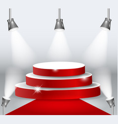 illuminated podium with red carpet vector image
