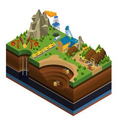 Isometric oil and mining industry concept vector