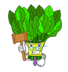 Judge vegetables spinach isolated on the mascot vector