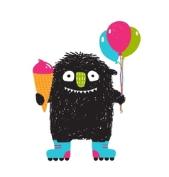 Kids Fun Monster with Ice-cream Balloons Roller vector