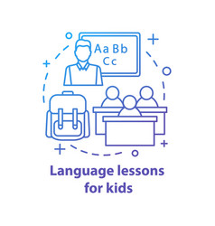 Language lessons for kids concept icon vector