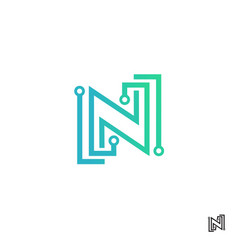 letter n technology logo design vector image