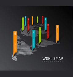 Light world map with droplets pointer marks vector