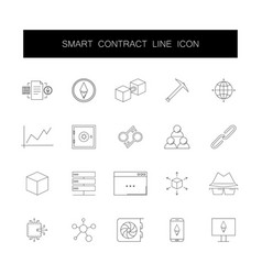 line icons set smart contract pack vector image