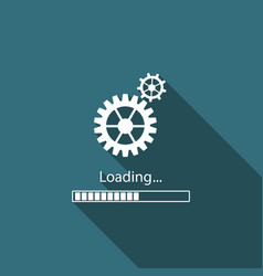 loading and gear icon isolated with long shadow vector image