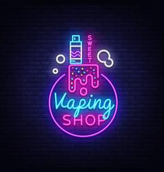 logo electronic cigarette in neon style vape shop vector image