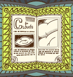 Magic book with the spell of clouds vector