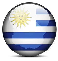 Map on flag button of Eastern Republic of Uruguay vector