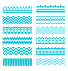 Marine waves sea wavy ocean art water design vector