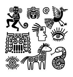 Mexican tribal black line symbols vector