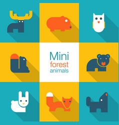 minimal forest animals vector image