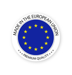 Modern made in the european union label vector