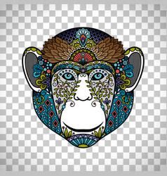 Monkey head totem with ethnic ornament vector