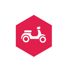 motorcycle or scooter bike and hexagon shape icon vector image