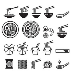 noodle icons set vector image