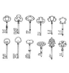 Old skeleton keys sketches set vector