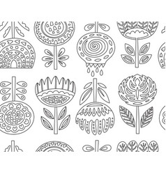 outline seamless pattern with scandinavian flowers vector image