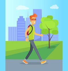 Pedestrian walking in park vector