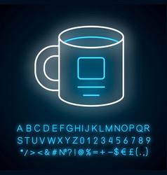 Personal cup ceramic utensil neon light icon vector