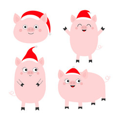 Pig piglet set cute cartoon funny bacharacter vector