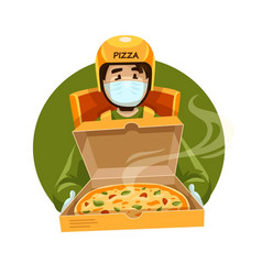 Pizza delivery courier vector
