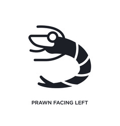 Prawn facing left isolated icon simple element vector