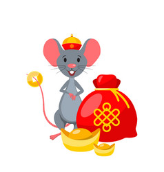 rat with golden ingot and year chinese vector image