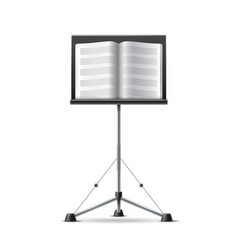 realistic music notes book on music stand vector image