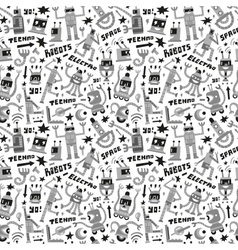 Robots - seamless background vector image