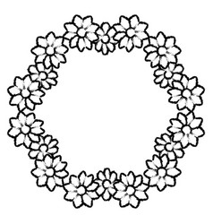 Round frame of flowers vector
