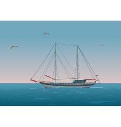 Sailboat in the sea and birds vector