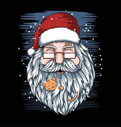 santa and kittens merry christmas vector image