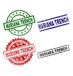 Scratched textured mariana trench stamp seals vector