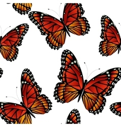 Seamless pattern with bright monarch butterflies vector
